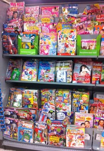A selection of children's titles in a supermarket