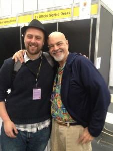 Stephen and George Perez and Stephen's hat.